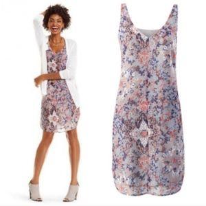 CABI Fresco Slip Dress Floral Sleeveless Pocket XL